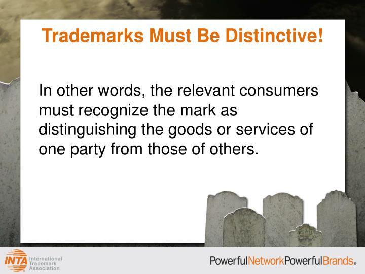 Trademarks Must Be Distinctive!