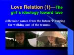 love relation 1 the girl s ideology toward love3