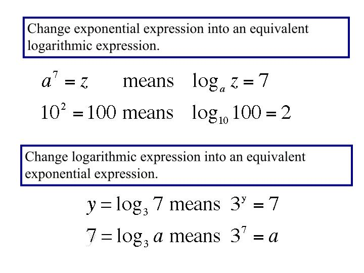 Change exponential expression into an equivalent logarithmic expression.