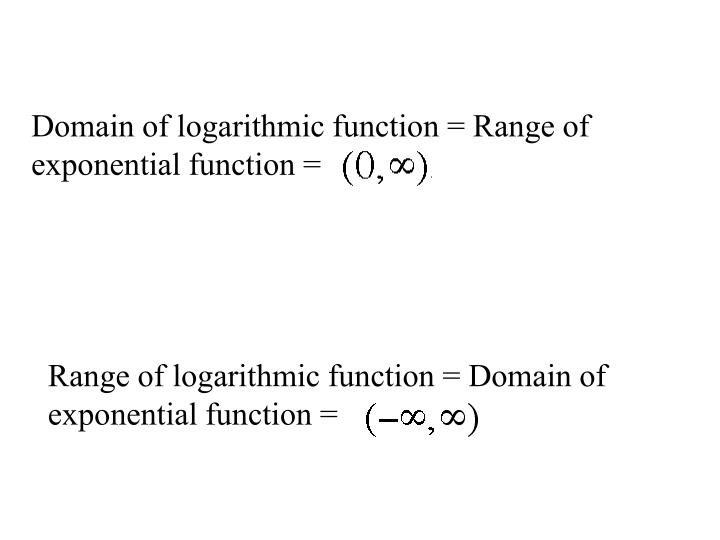 Domain of logarithmic function = Range of exponential function =