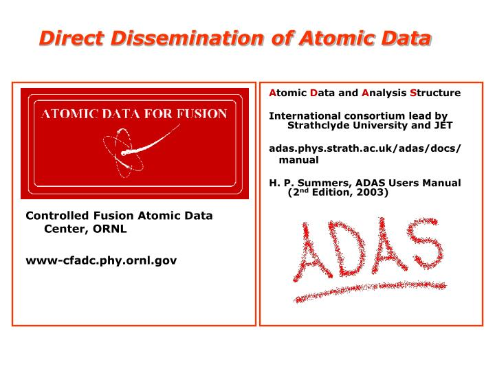 Direct dissemination of atomic data