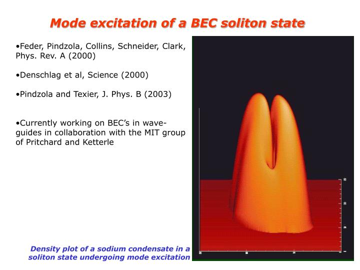Mode excitation of a BEC soliton state