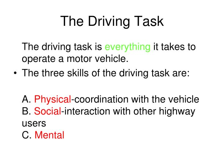 the driving task n.
