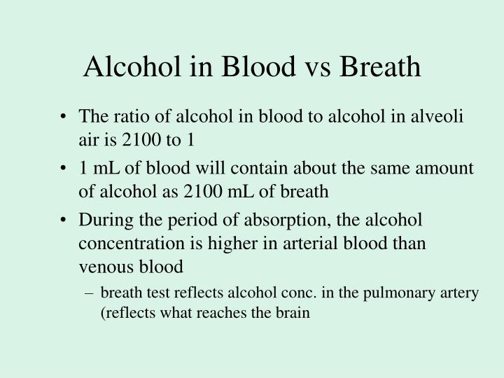 Alcohol in Blood vs Breath