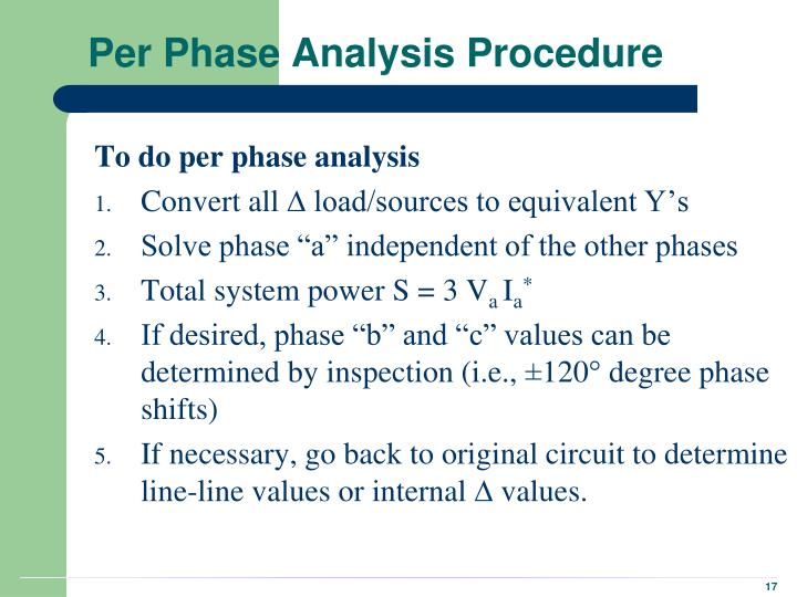 Per Phase Analysis Procedure