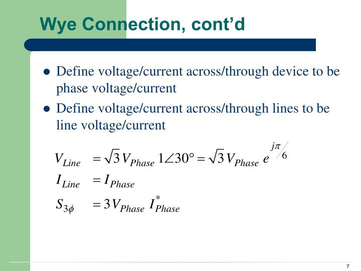 Wye Connection, cont'd