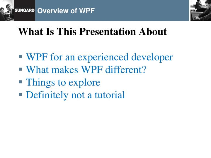 Overview of wpf1