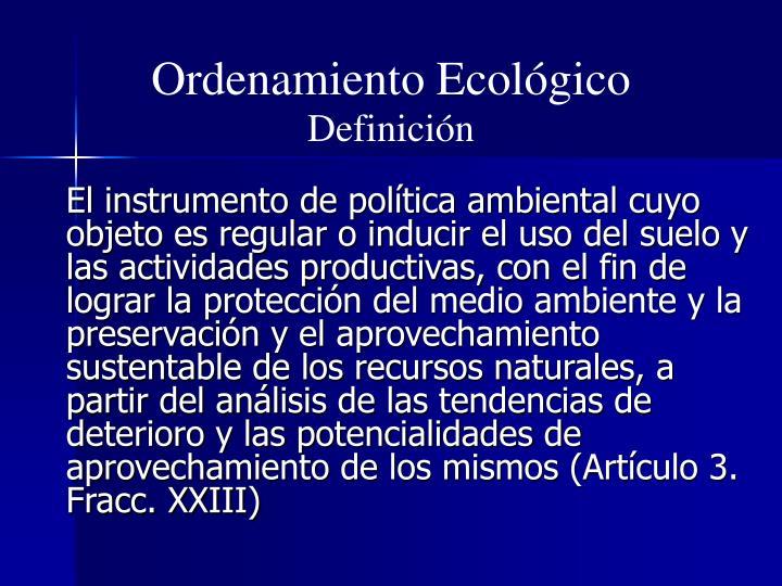 Ordenamiento ecol gico definici n