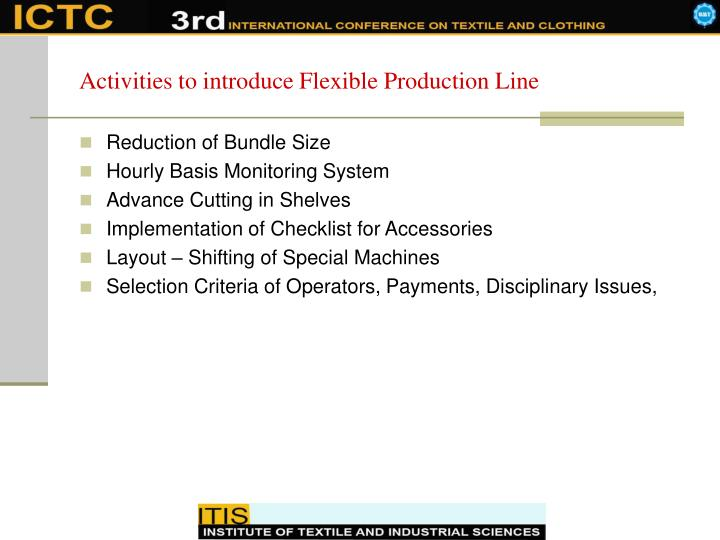 Activities to introduce Flexible Production Line