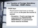 u s taxation of foreign subsidiary earnings fasb s rules
