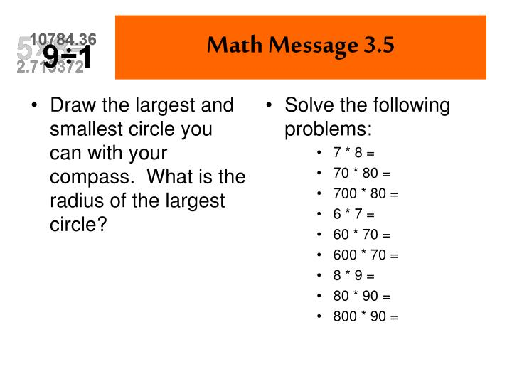 Draw the largest and smallest circle you can with your compass.  What is the radius of the largest circle?