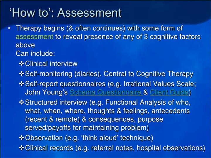 'How to': Assessment