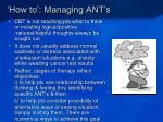 how to managing ant s1