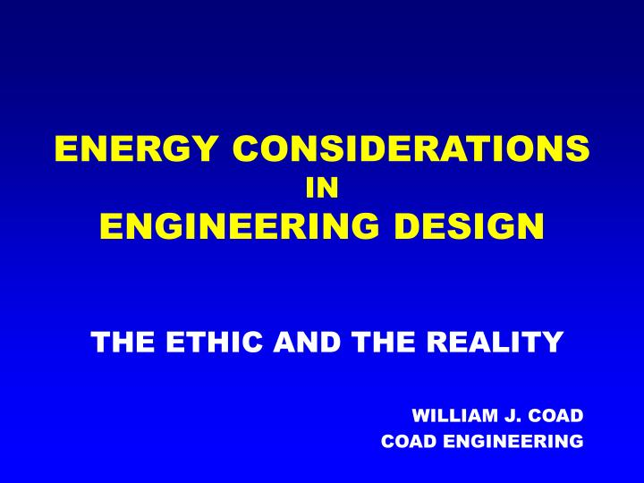 energy considerations in engineering design n.