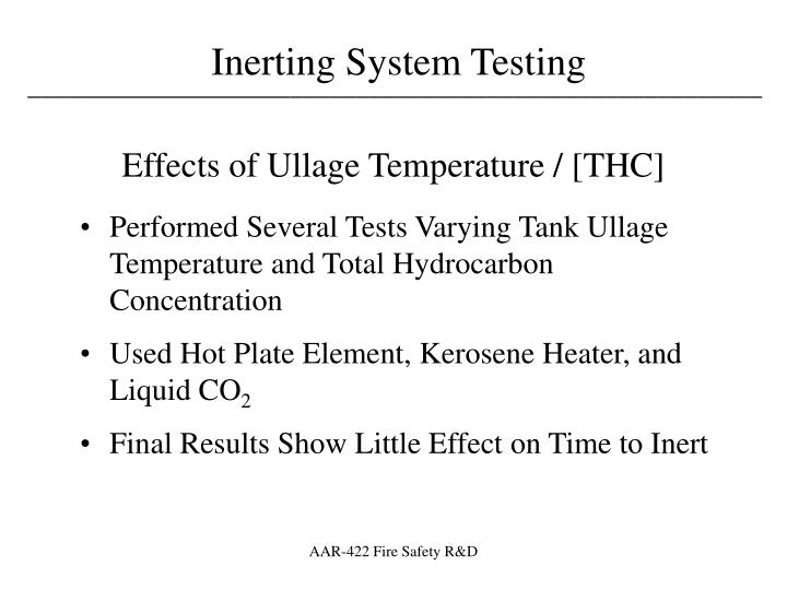 Effects of Ullage Temperature / [THC]