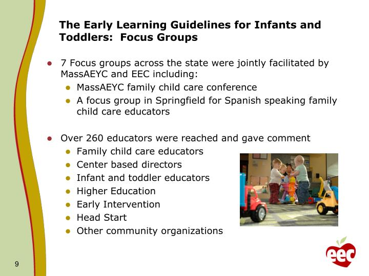 The Early Learning Guidelines for Infants and Toddlers:  Focus Groups