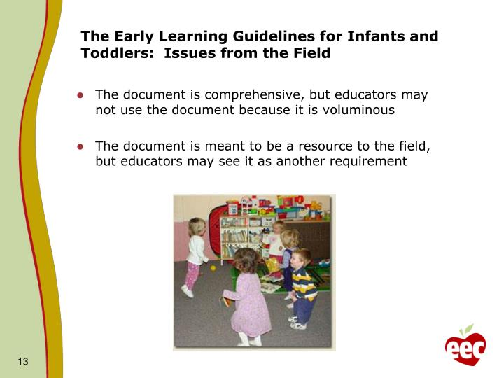 The Early Learning Guidelines for Infants and Toddlers:  Issues from the Field