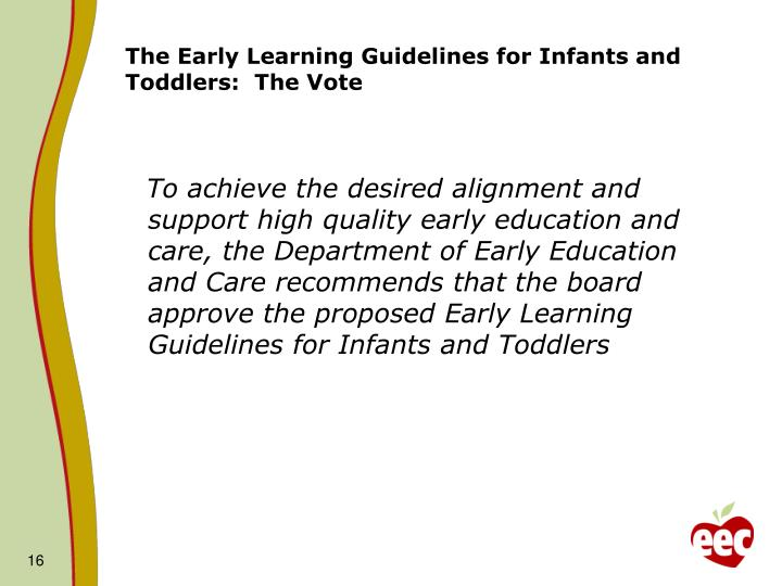 The Early Learning Guidelines for Infants and Toddlers:  The Vote