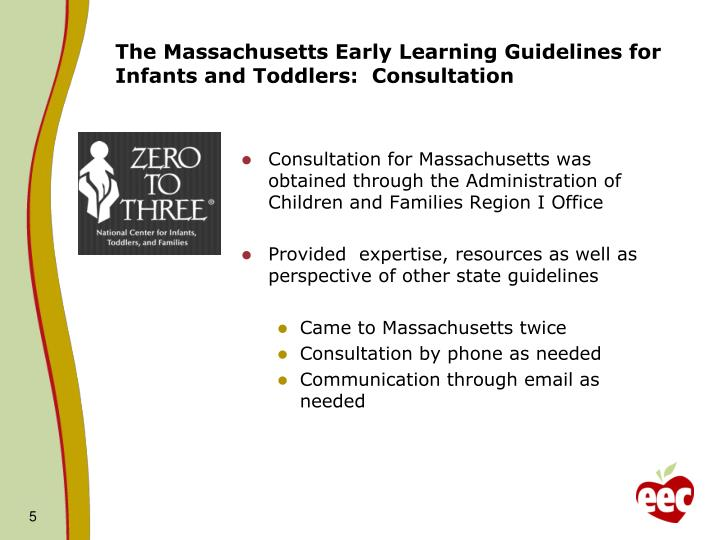 The Massachusetts Early Learning Guidelines for Infants and Toddlers:  Consultation