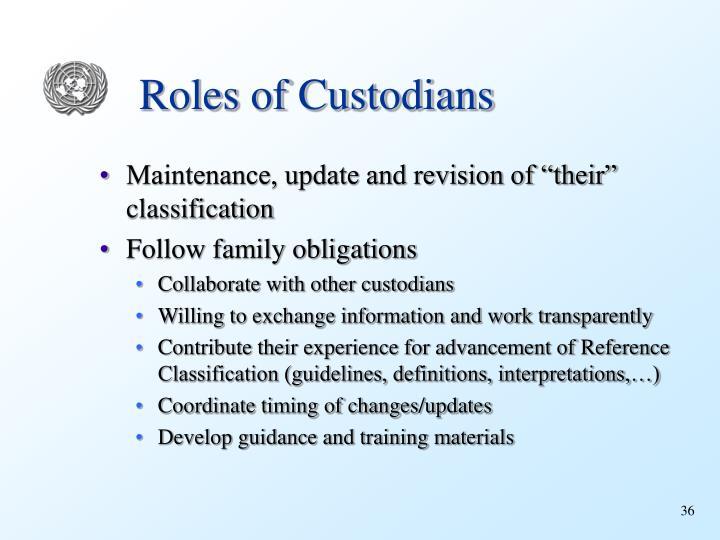 Roles of Custodians