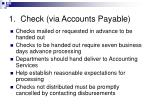 1 check via accounts payable