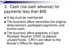 3 cash via cash advance for payments less than 503