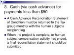 3 cash via cash advance for payments less than 504