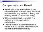 compensation vs benefit