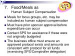 food meals as human subject compensation