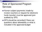 role of sponsored program services