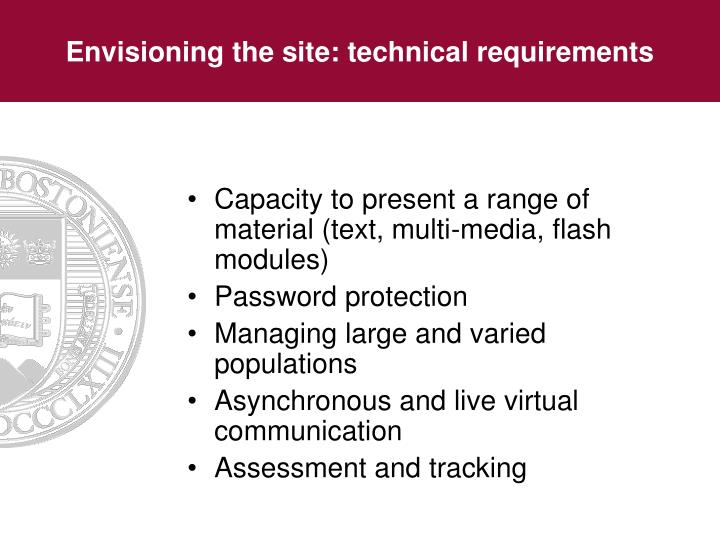 Envisioning the site: technical requirements