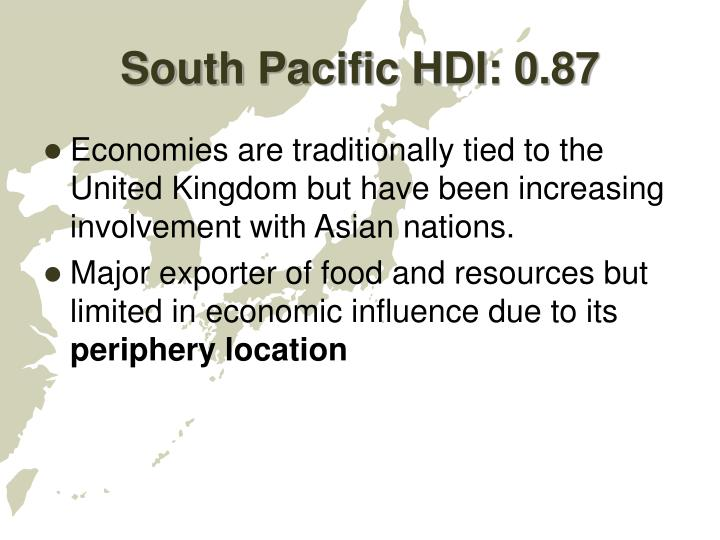 South Pacific HDI: 0.87