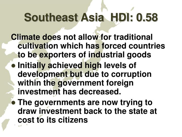 Southeast Asia  HDI: 0.58