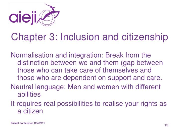Chapter 3: Inclusion and citizenship