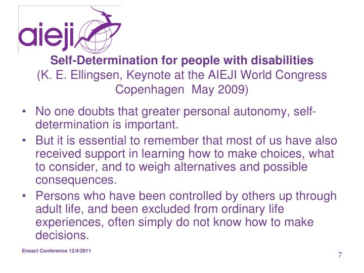 Self-Determination for people with disabilities