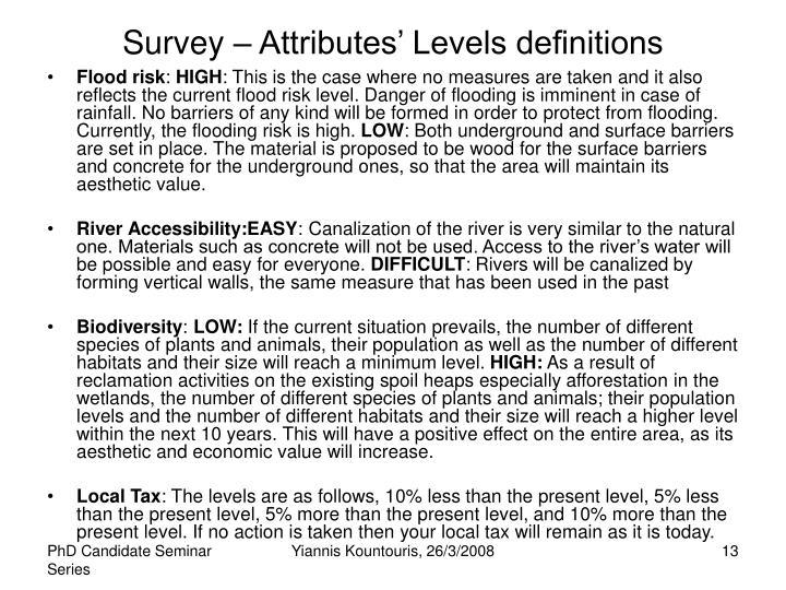 Survey – Attributes' Levels definitions