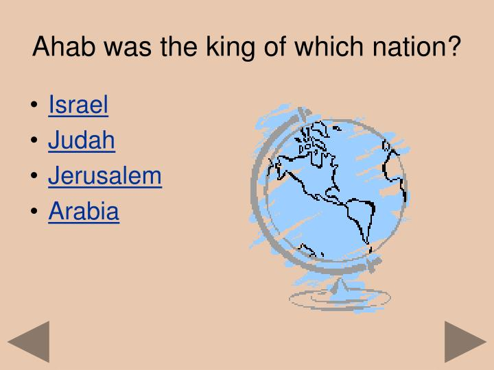 Ahab was the king of which nation