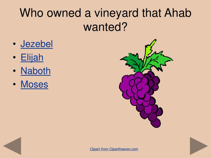 Who owned a vineyard that Ahab wanted?
