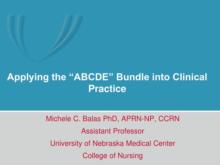 applying the abcde bundle into clinical practice n.