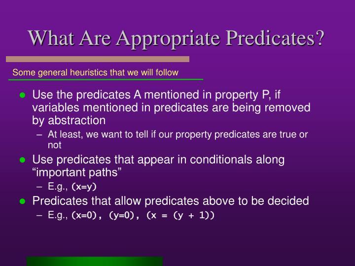 What Are Appropriate Predicates?