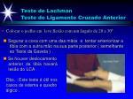 teste de lachman teste do ligamento cruzado anterior