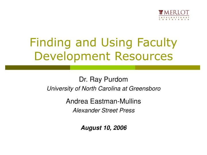 finding and using faculty development resources n.