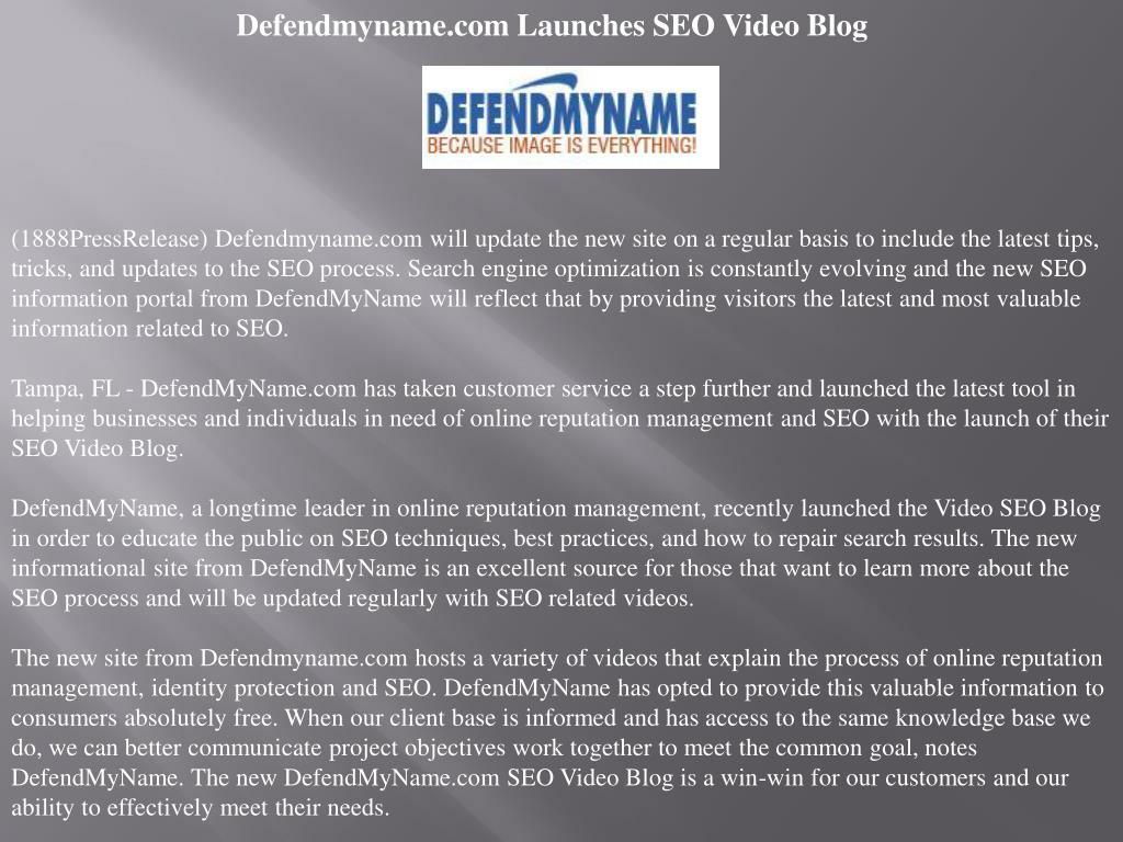 Defendmyname.com Launches SEO Video Blog