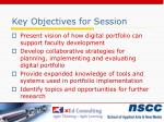 key objectives for session