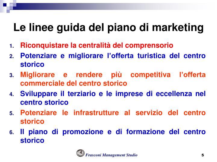 Le linee guida del piano di marketing