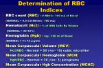 determination of rbc indices