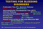 testing for bleeding disorders