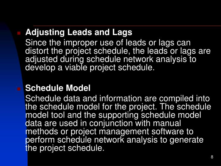 Adjusting Leads and Lags