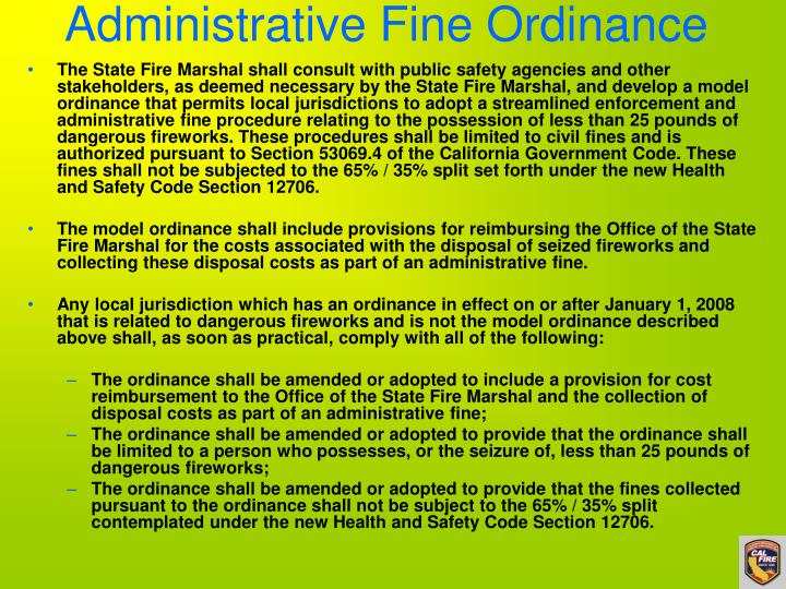 Administrative Fine Ordinance