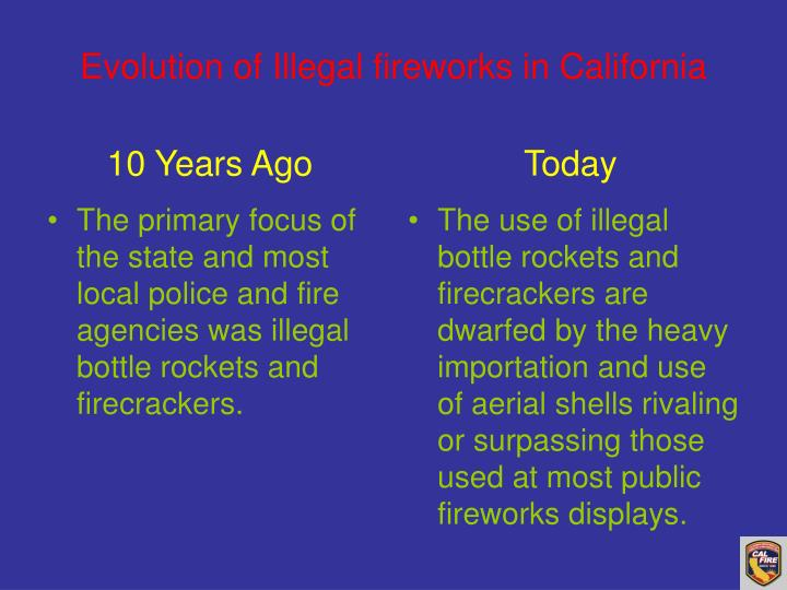 The primary focus of the state and most local police and fire agencies was illegal bottle rockets and firecrackers.